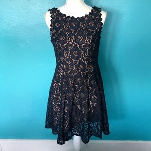 City Studio blue lace dress with tan lining